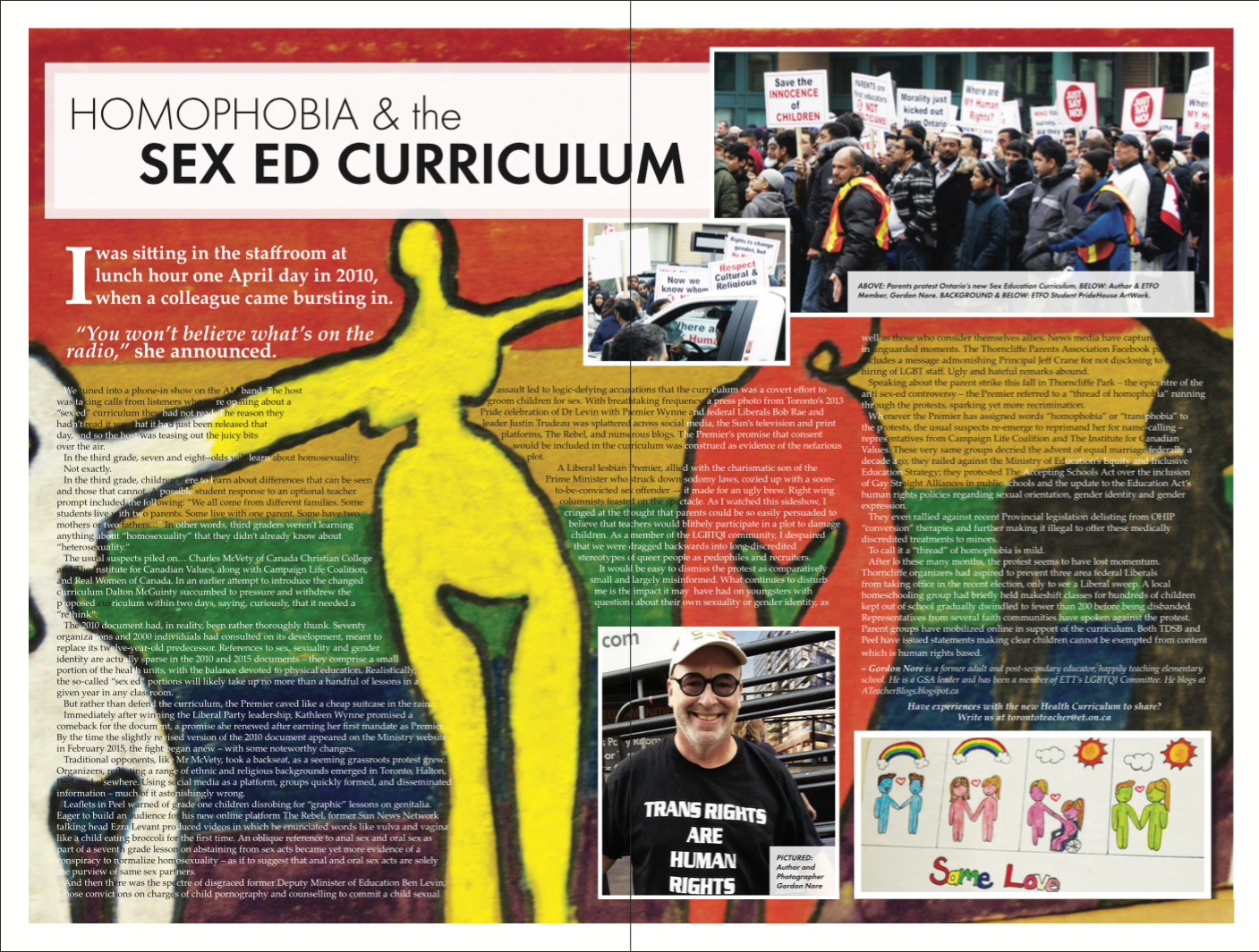 Homophobia and the Sex Ed Curriculum G Nore Toronto Teacher 6-1 Winter 2016